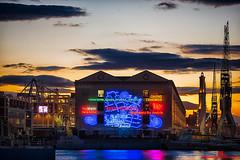 L'ora d'oro al Porto Antico di Genova ... (FotoNazario2) Tags: sunset clouds sunrise colorful liguria genova coloredlights goldenhour reflexes portoantico
