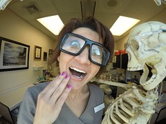 The Strongest Muscle in the Body is the Tongue! (AngelBeil) Tags: window tongue skeleton glasses funny dental dorks jokes dentist funnybones gopro werehere dentalhumor hereios meandmrbones