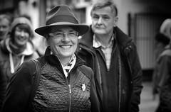 The Happy Lady in the Hat (Just Ard) Tags: street people blackandwhite bw white black blancoynegro monochrome face person photography mono nikon noiretblanc zwartwit candid 85mm d750 unposed  biancoenero schwarzundweis justard