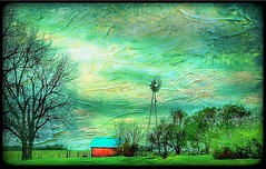 From a distance... (Sherrianne100) Tags: painterly windmill barn countryside farm redbarn