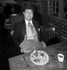 Dr. Takeshi Yamada and Seara (Coney Island sea rabbit) at the Queens Buffet Chinese restaurant in Queens, New York on April 17, 2016. 20160417. DSCN5036=PV-3030CBW. Queens Buffet (searabbits23) Tags: ny newyork sexy celebrity rabbit art hat fashion animal brooklyn sushi asian coneyisland japanese star restaurant tv google king artist dragon god manhattan famous gothic goth uma ufo pop taxidermy vogue cnn tuxedo bikini tophat unitednations playboy entertainer oddities genius mermaid amc mardigras salvadordali performer unicorn billclinton seamonster billgates aol vangogh curiosities sideshow jeffkoons globalwarming mart magician takashimurakami pablopicasso steampunk damienhirst cryptozoology freakshow seara immortalized takeshiyamada roguetaxidermy searabbit barrackobama ladygaga climategate  manwithrabbit