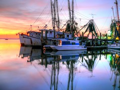 Colors Of The Night (John E Adams) Tags: reflection water night pier moody nightshot florida nighttime fernandinabeach shrimpboats moored