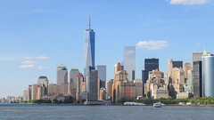 Panorama view of Manhattan (jack-sooksan) Tags: park city nyc travel blue summer sky urban panorama usa cloud ny newyork building tower water skyline architecture america skyscraper river landscape bay office construction downtown day cityscape riverside cloudy harlem manhattan famous scenic bank landmark east clear business batterypark shore hudson wallstreet trade financial worldtrade oneworldtrade