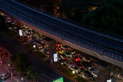 Traffic under the metro way (Scalino) Tags: city roof urban india buildings circle view metro bangalore junction trinity elevated urbex aérien fromtheroof namma bengaluru cheesenaan