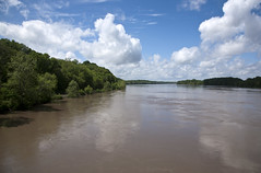 High water on the Missouri River (Shotaku) Tags: water clouds flooding scenery outdoor missouri rivers highwater floods missouririver boonville
