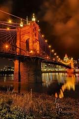 The Roebling Suspension Bridge (VonShawn) Tags: nightphotography bridge ohio architecture reflections landscape waterfront kentucky ohioriver roeblingsuspensionbridge johnaroeblingsuspensionbridge covingtonkentucky