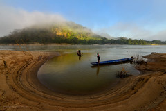 Love U (SaravutWhanset) Tags: travel light summer sky sunlight river landscape asian thailand fisherman asia traditional bluesky thai nets jouner