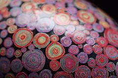 """Gloaming"" 2015 (Katy David Art) Tags: pink red color green art twilight colorful folkart circles egg fine wax dye multicolored circular rhea eggshell batik fireflies pysanka pysanky"
