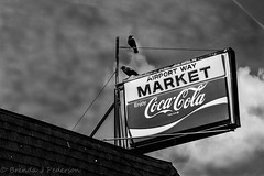 Crows go better with coke (Culinary Fool) Tags: seattle roof sky bw bird art sign clouds blackwhite washington store market georgetown april wa cocacola crow grocery 2015 culinaryfool 2470mm28 brendajpederson