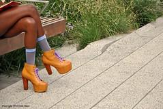 Something Shocking - A Glimpse of Stocking (Trish Mayo) Tags: stockings bench shoes legs heels highline platformshoes thebestofday gnneniyisi
