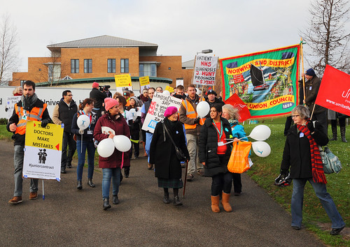 Junior Doctors Strike Picket walking outside Norfolk and Norwich University Hospital A3 print size