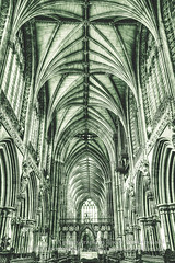 Lichfield Cathedral Ceiling HDR (Jacek Wojnarowski Photography) Tags: old uk sculpture building history vertical architecture choir vintage arch cathedral religion indoor ceiling retro nave aged christianity spirituality staffordshire hdr lichfield blackandwhitephotography lowangle gothicarchitecture religiousbuildings religioussymbol 6x4 splittoning englishgothicarchitecture religiousequipment bulitstructure
