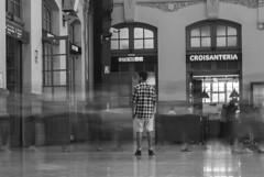 Nobody stops (davidlloret) Tags: world españa white black blanco valencia station speed train tren blackwhite spain nikon alone time negro nobody run solo soledad estación correr hustle stops tiempo rapidez d5200