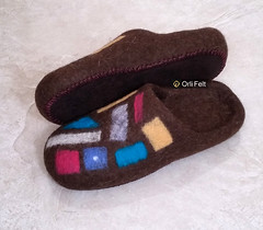 Slippers Mosaic (Orli Felt) Tags: blue orange brown house wool felted handmade gray slippers orlifelt
