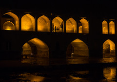 a view of the si-o-seh bridge at night highlighting the 33 arches, Isfahan Province, isfahan, Iran (Eric Lafforgue) Tags: city travel bridge urban reflection building tourism horizontal architecture night buildings outdoors persian asia arch iran middleeast bridges engineering persia arches nobody landmark architectural illuminated civil iranian centralasia esfahan isfahan ispahan siosehpol   siosehbridge  iro isfahanprovince  colourpicture polesioseh  hispahan iran034i3673