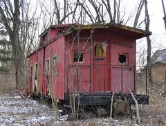 Reynoldsburg, Ohio (5 of 8) (Bob McGilvray Jr.) Tags: wood railroad ohio red abandoned rotting train wooden tracks caboose cupola oh bo abused trashed reynoldsburg baltimoreohio c2208