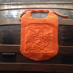 Owl Bib (Alynxia) Tags: orange baby knitting gifts cotton owl bibs