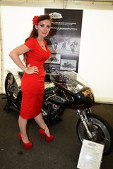 Holly J_1368 (Fast an' Bulbous) Tags: santa red summer england woman classic stockings girl bike speed hair drag high pod nikon long power dress gimp fast indoor tent norton motorcycle heels oldtimer stilettos d7100 hogslayer dragstalgia