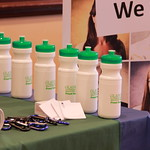 Promotional material on display at a career fair