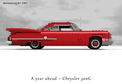 Chrysler 300G (1961) (lego911) Tags: auto usa classic hardtop car america model lego g render chrome 1960s hemi chrysler 300 coupe v8 fins 1961 cad povray moc ldd 281 miniland 300g lego911