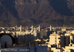 Minarets of Quba' Mosque (Ahmad Mortaja) Tags: city sky moon architecture photography nikon view minaret mosque medina majestic mosques ksa medinalive