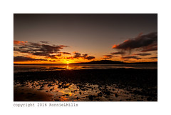 Chasing the Sunset (RonnieLMills) Tags: road tower wet reflections sand lough strangford newtownards scrabo portaferry