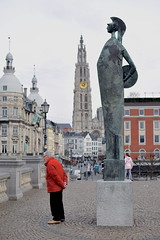 Antwerp Schelde (paulusvp1) Tags: red man tower church statue 35mm person nikon cathedral belgium antwerp schelde nikkor dslr d3300