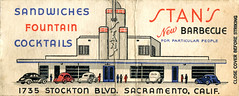 Stan's New Barbecue (jericl cat) Tags: new fountain architecture illustration paper restaurant design graphic drivein moderne ephemera barbecue artdeco sacramento streamlined cocktails matchbooks streamline matchbook stans