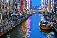 Dotonbori at night, Osaka (jtabn99) Tags: street food japan river shopping riverside   nippon osaka dotonbori    casiocamera  hdrartmode 20160329