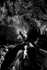 _DAN6398 (ChunkyCaver) Tags: blackandwhite bw white black reflection water cave caving stalagmite abseiling straws stalactite spelunking srt abseil caver streamway