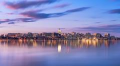 Madtown Reflection (gauss5050) Tags: longexposure sunset usa reflection skyline wisconsin landscape nikon cityscape unitedstates madison d750 bluehour lakemonona leefilters bigstopper