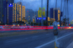 City lights abstract (Exdeltalady) Tags: city nightphotography abstract blur speed photography lights downtown neon nightlights traffic sandiego dusk processing topaz harbordrive
