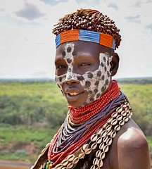 Karo Woman, Ethiopia (Rod Waddington) Tags: africa portrait woman shells color colour face female beads village outdoor african painted traditional culture valle tribal valley afrika omovalley ethiopia tribe ethnic karo cultural ethnicity afrique ethiopian omo cowrie etiopia ethiopie etiopian omoriver