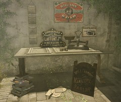 ..::THOR::.. Flea Market Set (to Lost&Found event NOW!) (andraus thor) Tags: old sign vintage poster table 3d mesh market furniture sheets used event secondlife virtual scales lf thor inkwell oldies fleamarket th lostfound metaverse lowprice refurnished andraus