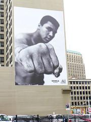 Ali's Fist! (Bob Ponder Photography) Tags: leica city buildings downtown detroit ali billboards boxing muhammadali shinola