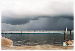Storm Clouds (Anita Waters) Tags: film pool weather rock fuji superia stormy olympus 400 simplicity analogue melancholy minimalism xtra northernbeaches collaroy om2n