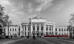 Burgtheater in Vienna (MrProd) Tags: vienna wien street city red test white streetart black building art architecture austria europe theater outdoor sony testing monochrom burgtheater a6000