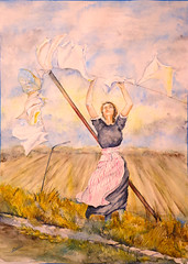 Tendiendo ropa (benilder) Tags: woman watercolor landscape mujer aquarelle femme paisaje clothes laundry land campo watercolour paysage ropa tender blanchisserie