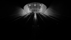 The passage between worlds (Joo Cruz Santos) Tags: street blackandwhite bw portugal subway lisboa lisbon streetphotography caisdosodr nex5r sel1018