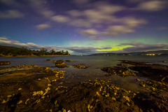 Southern Vista (robertdownie) Tags: blue sky green water night clouds stars lights long exposure australia aurora tasmania oyster hobart howden