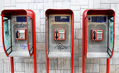 Three Phones (PM Kelly) Tags: street city red urban 3 public three call phone telephone serbia ring pay soviet belgrade