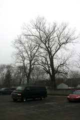 (Jeremy Whiting) Tags: park new city morning trees winter red urban green cars fog digital work canon panel suburban michigan contemporary empty parking gray detroit foggy lot inner dodge tall pointe geography van ram stark 90s wander flaneur grosse topographics topographer topographers