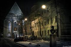 Biserica Reformată-Calvină ( Cluj-Napoca ) (Lucian Nuță) Tags: winter snow church night lights romania biserica cluj napoca clujnapoca 2016 reformatăcalvină youthclujnapoca cluj2016