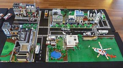Brickvention 2016 Display (LonnieCadet) Tags: road street rescue tree car ferry fire town cafe lego helicopter modular emergency moc 2016 brickvention lonniecadet bv16