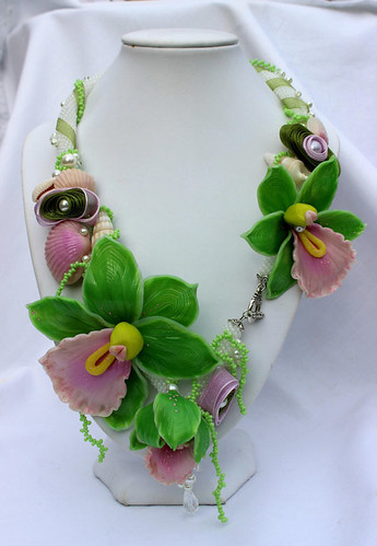 Orchid necklace and earrings from polymer clay, Tropical Green handmade jewelry Set, Summer necklace