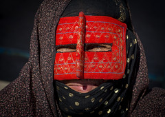 a bandari woman wearing the traditional mask called the burqa on a market, Hormozgan, Bandar Abbas, Iran (Eric Lafforgue) Tags: red people woman horizontal closeup outdoors persian clothing asia veil mask iran market muslim islam religion hijab persia headshot hidden covered iranian bazaar adults adultsonly oneperson islamic burqa ethnicity middleeastern frontview persiangulf sunni bandarabbas burka chador balouch hormozgan onewomanonly lookingatcamera burqua   embroidering 1people  iro straitofhormuz  unrecognizableperson colourpicture  borqe boregheh iran034i1914