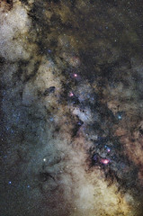 Milky Way in Saggitarius and Aquila (Astrobobo) Tags: summer sky night dark spectacular stars spiral colorful view clusters rich wide center lagoon galaxy nebula dust messier pillars universe majestic milkyway pixinsight