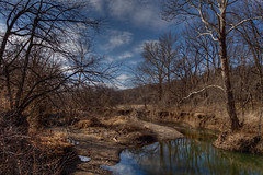 Down by the River (Majtek862) Tags: trees winter light sky cliff cold color nature water glass grass clouds contrast rural creek reflections landscape woods view atmosphere sunny hills erosion valley kansas recreation overlook millcreek underbrush