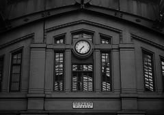 Time to go (dimg) Tags: white black clock monochrome station sony athens greece a100 piraeus