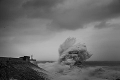 Powering (Tim Bow Photography) Tags: blackandwhite bw lighthouse seascape water pier waves power wave stormy structure british welsh swell seas porthcawl blackandwhitephotography 2016 stormyseas purenature porthcawlpier timboss81 timbowphotography welshseascape ukwildweather ukwinterstorms2016 stormimogen